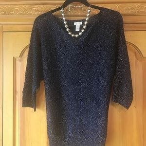 CHICOS NAVY BLUE SPARKLY SWEATER SIZE 2